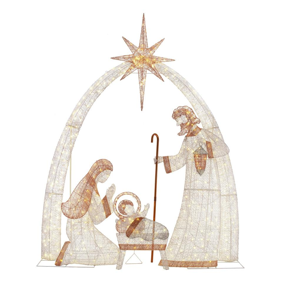 Home Accents Holiday 10 Ft Led Giant Nativity Scene Ty617 1711 The Home Depot Outdoor Nativity Scene Outdoor Nativity Yard Nativity Scene