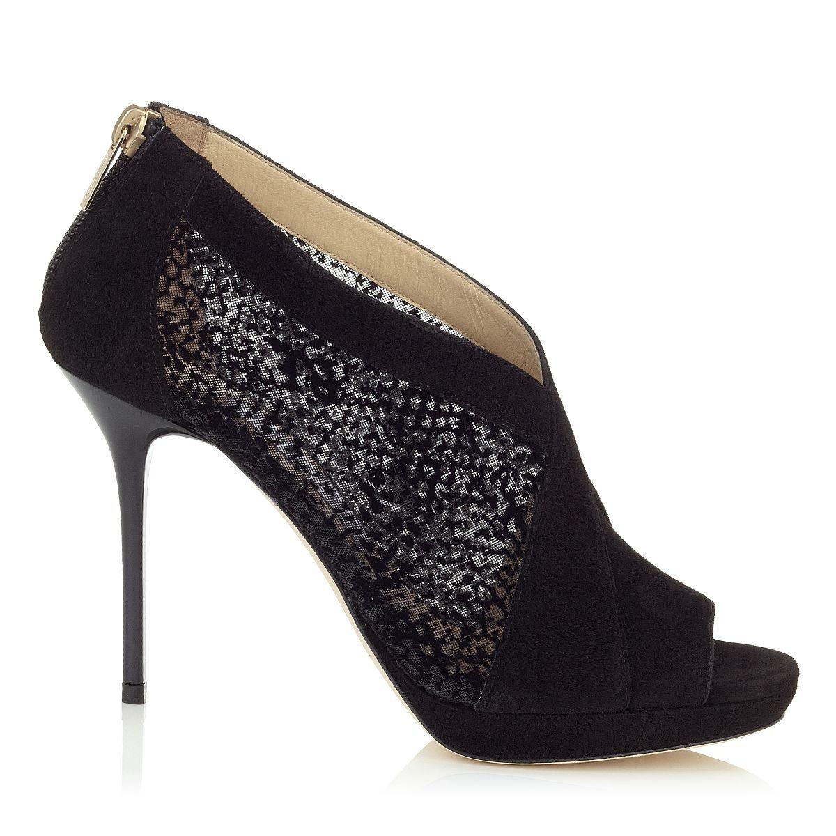 49995afe8550 Jimmy Choo Verrel Black Flocked Mesh and Suede Shoe Booties