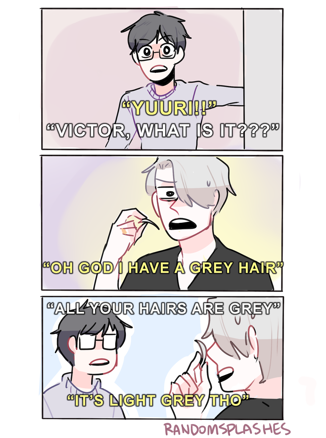 """randomsplashes: """"when your fiance has a midlife hair crisis at age 28 but you remind him that all of his hairs are grey (insp) """""""