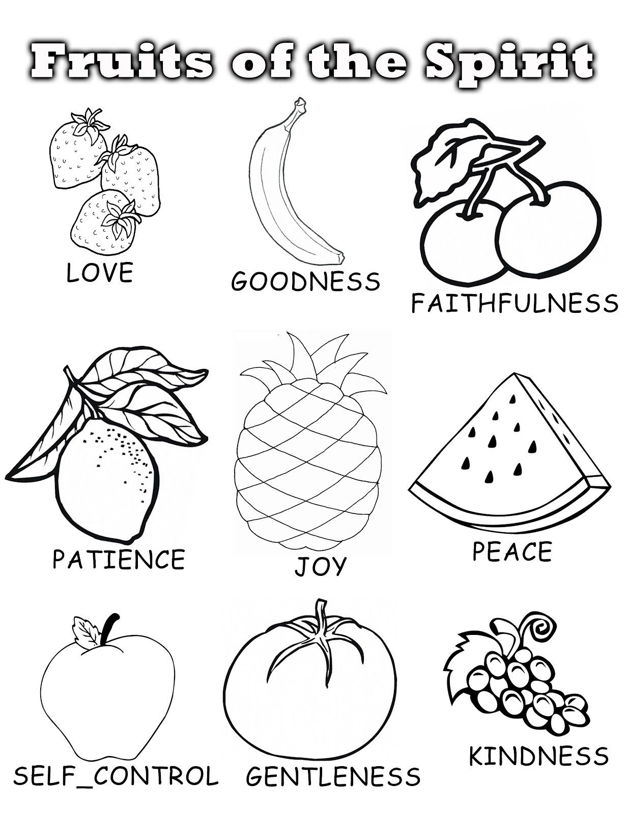Fruits of the spirit | Fruits and Their name Coloring Pages | Pinterest