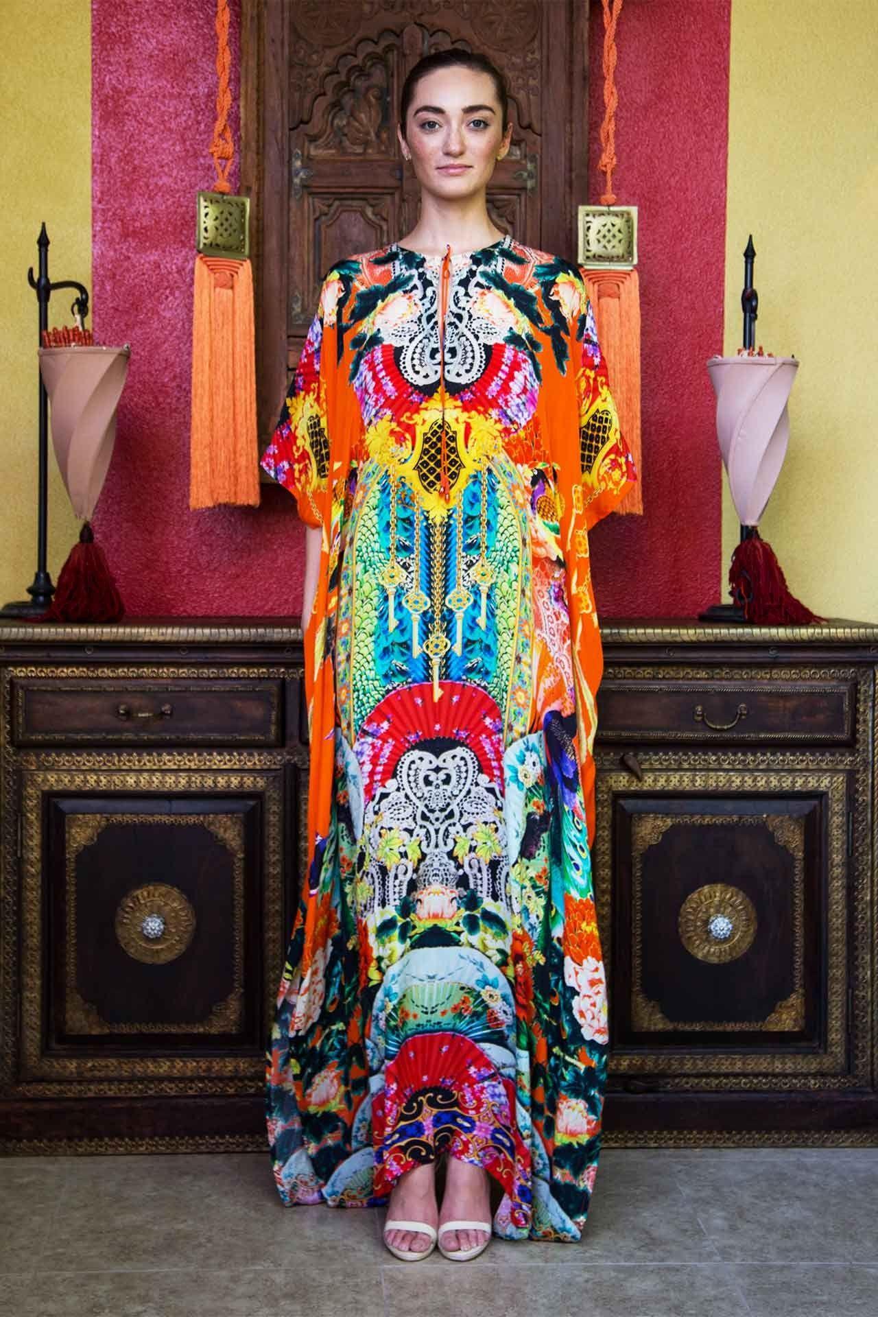 51852c88e85 Orange Japanese Print Kaftan Dress - Designer Women s Clothing - Shahida  Parides
