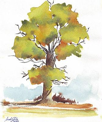 3 Steps To Draw Trees Wet In Wet Using Watercolors Nader Shenouda Contemporary A Watercolor Paintings For Beginners Fall Watercolor Watercolor Paintings Easy