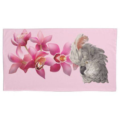 Vintage Cockatoo White And Pink Feathers [3D] Pillow Case