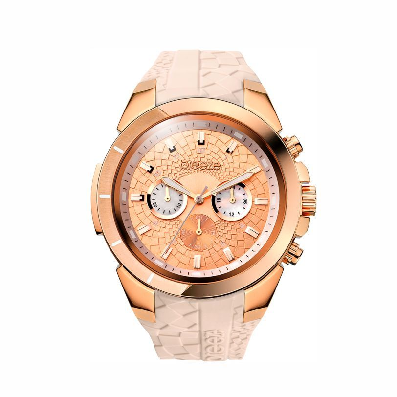 Γυναικείο αδιάβροχο ρολόι χρονογράφος BREEZE Sassytribe σε ροζ κάσα με  νουντ καουτσούκ και ροζ ανάγλυφο καντράν 92701c36827