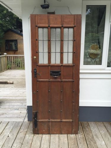 Solid Oak Front Door Period Wood Reclaimed Antique Old Arts Crafts Leaded In Antiques Architectural Doors Ebay