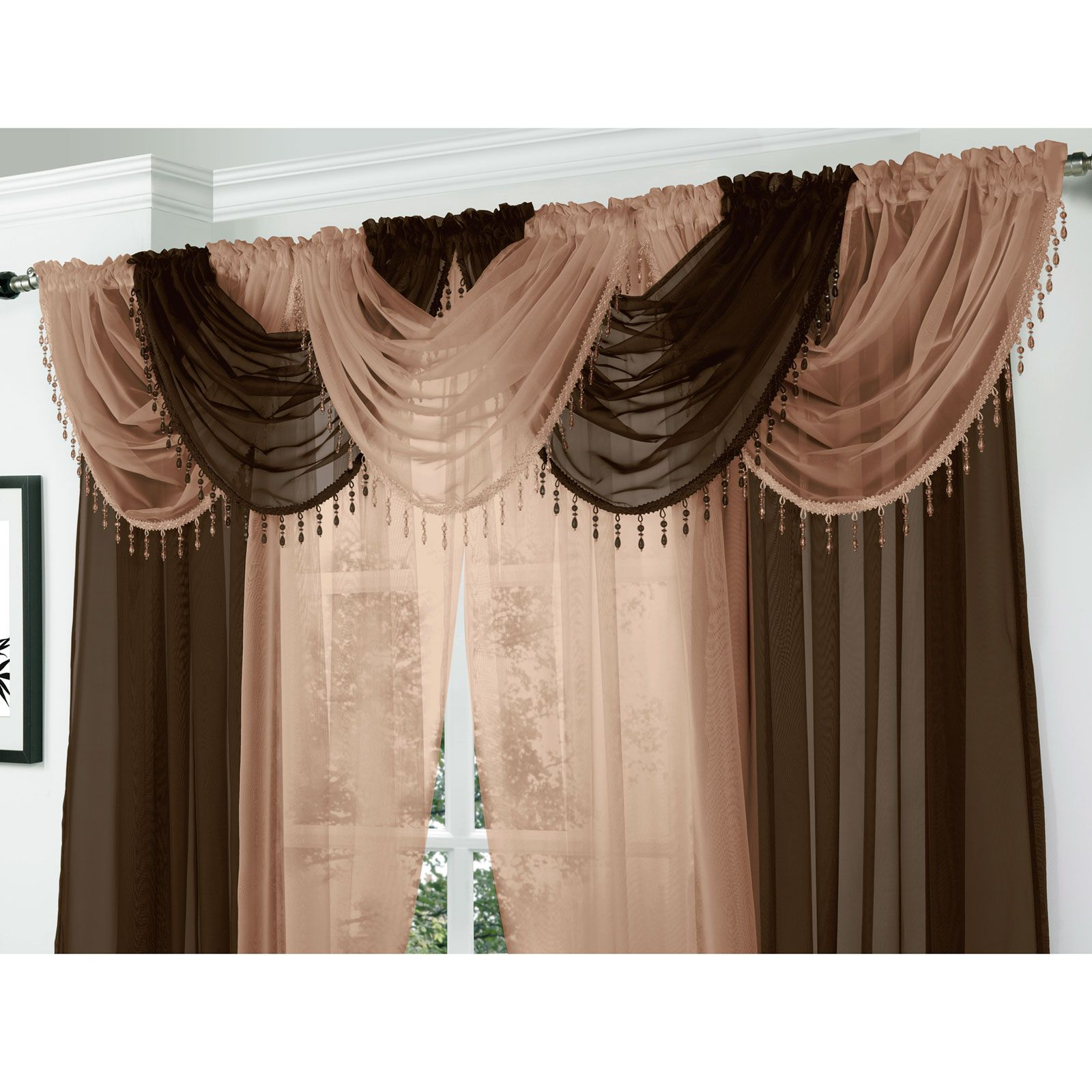 Black out curtains elegant valance curtains beaded valance curtains - Crystal Beaded Voile Swag Net Valance Pelmet For Curtains Slot Top Single