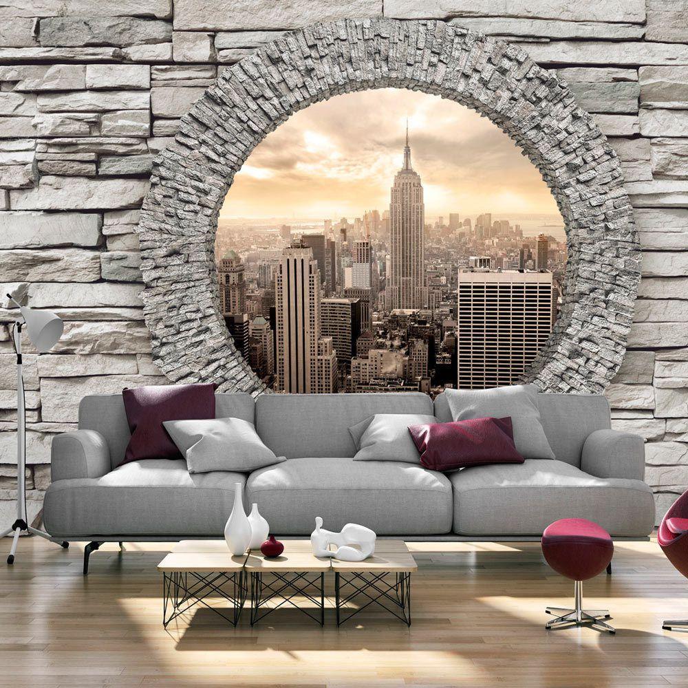 Photo Wallpaper Non Woven Art New York Brick D C 0005 A D Dizajnerskie Gostinye 3d Dekor Sten Dekor V Stile Art Deko
