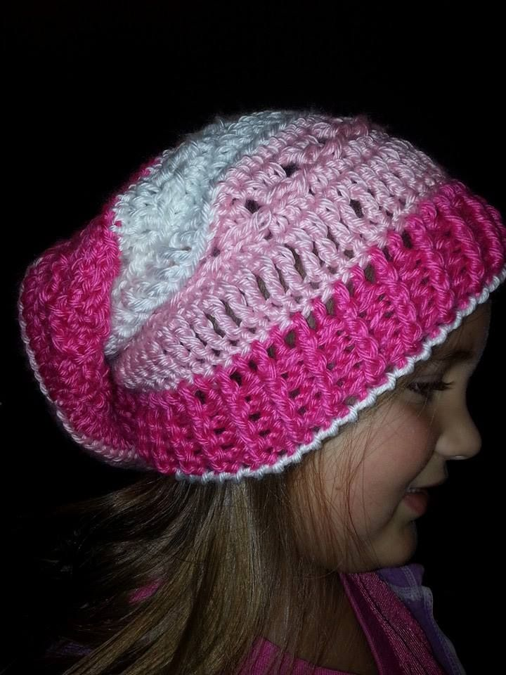 This hat is just so pretty! With two shades of pink and white, this would be the perfect addition to you Valentine's wardrobe. Of course, if you like pink and LOVE hats, this would be the hat for YOU! Made with a very soft and warm yarn, I just love this hat! Would be perfect for teens to adults....