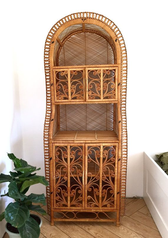 Peacock Rattan Wicker Cabinet Hutch / Woven Bamboo Etagere Shelving Unit /  Boho Chic Bamboo Bookcase