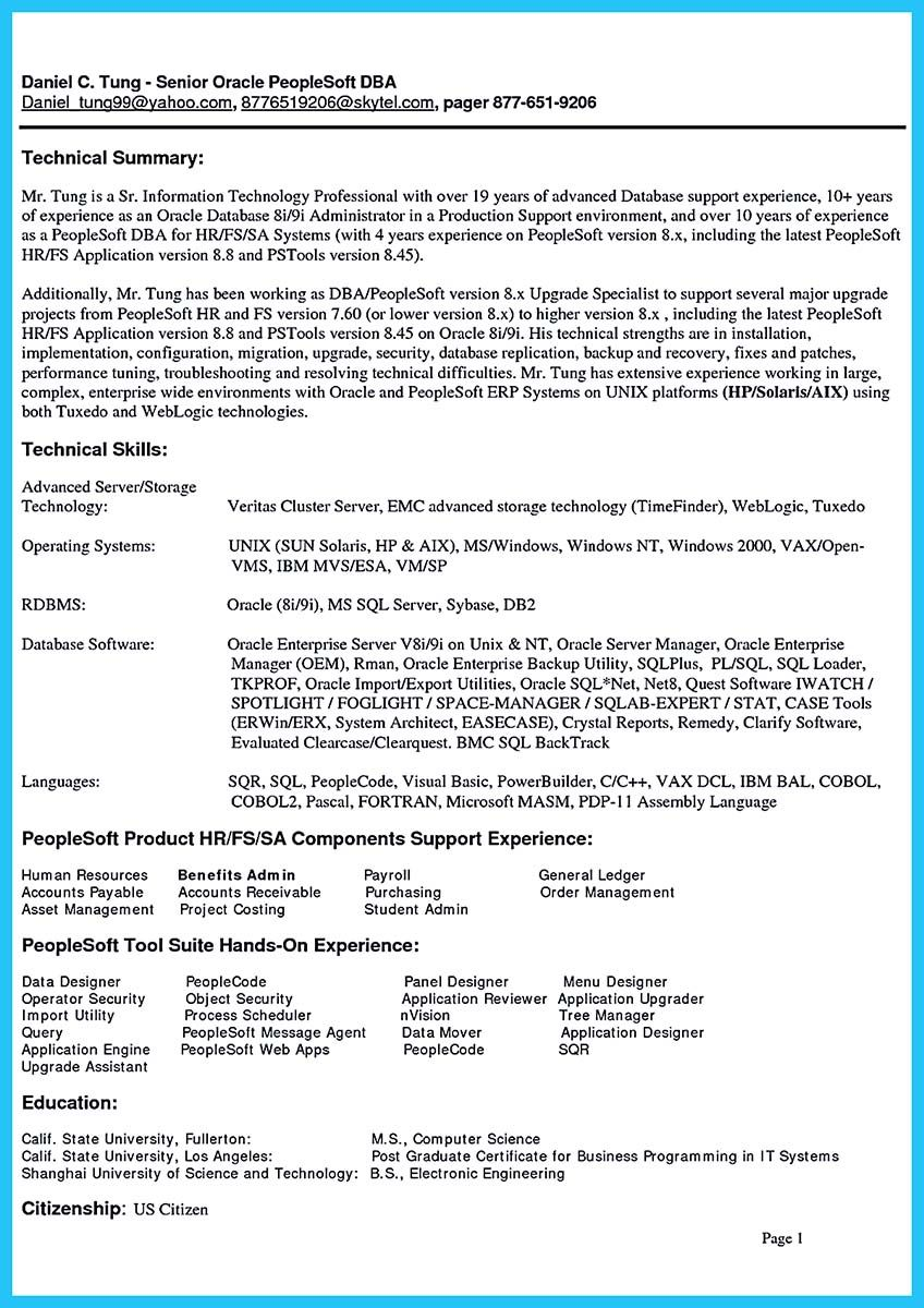 cool High Impact Database Administrator Resume to Get