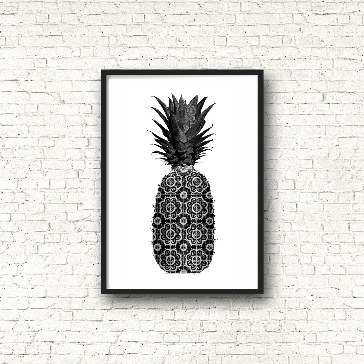 affiche poster noir et blanc graphique ananas format a4. Black Bedroom Furniture Sets. Home Design Ideas