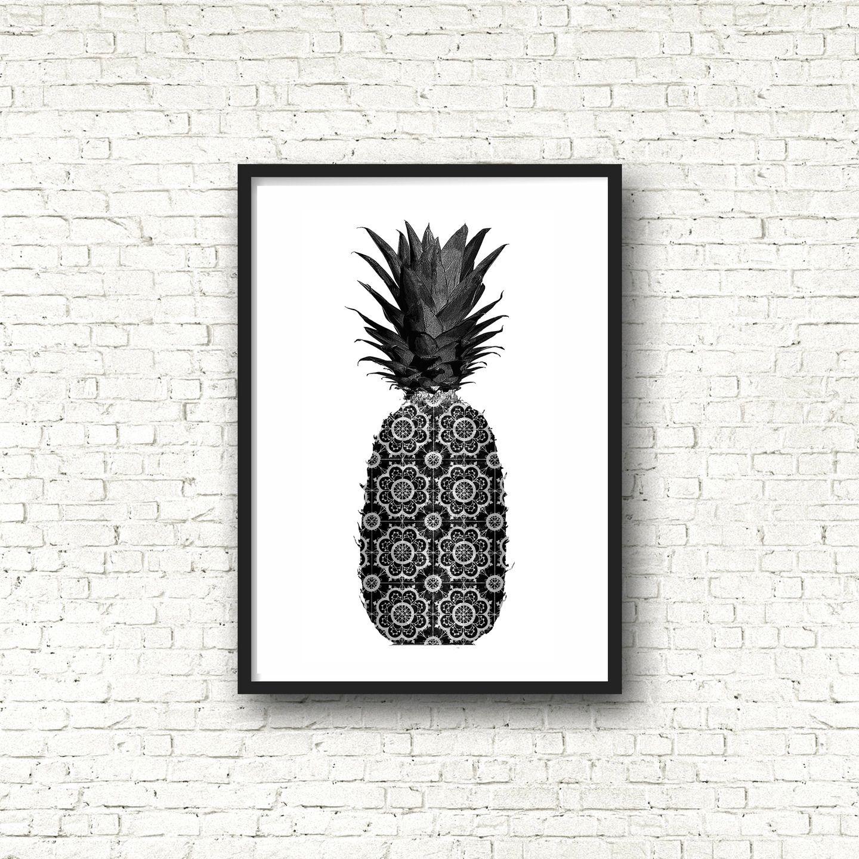 affiche poster noir et blanc graphique ananas format a4 deco pinterest poster noir et. Black Bedroom Furniture Sets. Home Design Ideas