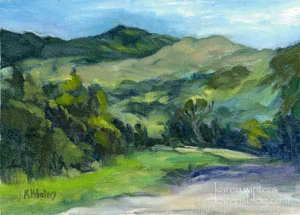 mountain paintings landscapes   Ladyface Mountain Agoura Painting by California Impressionist Karen ...