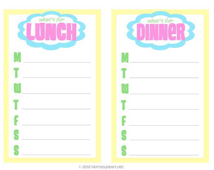 Free Printable Lunch  Dinner Meal Planning Sheet  Free