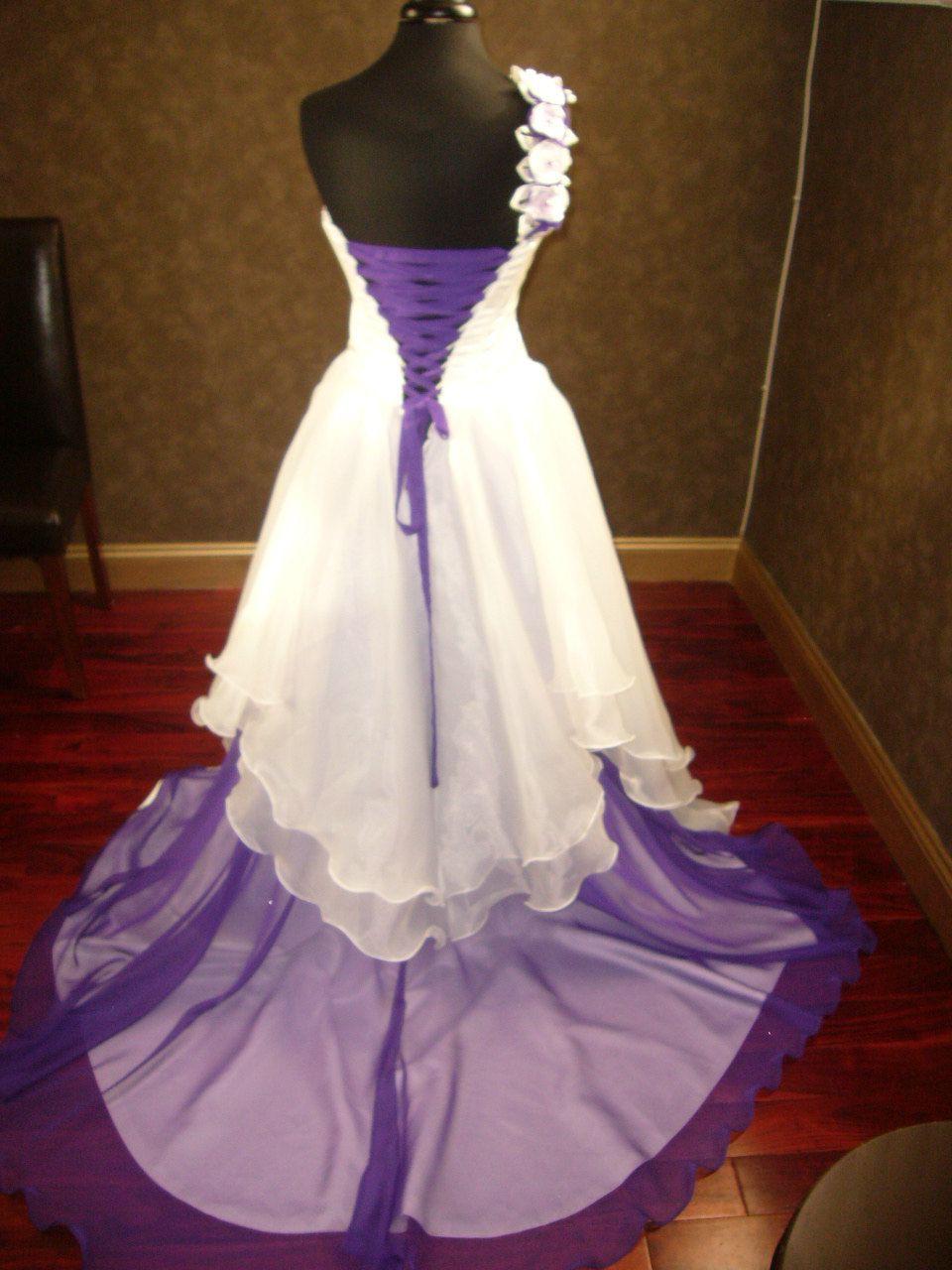 Wedding dresses com  Corset Fantasy Wedding Dress in Ivory and Purple via Etsy Fantasy