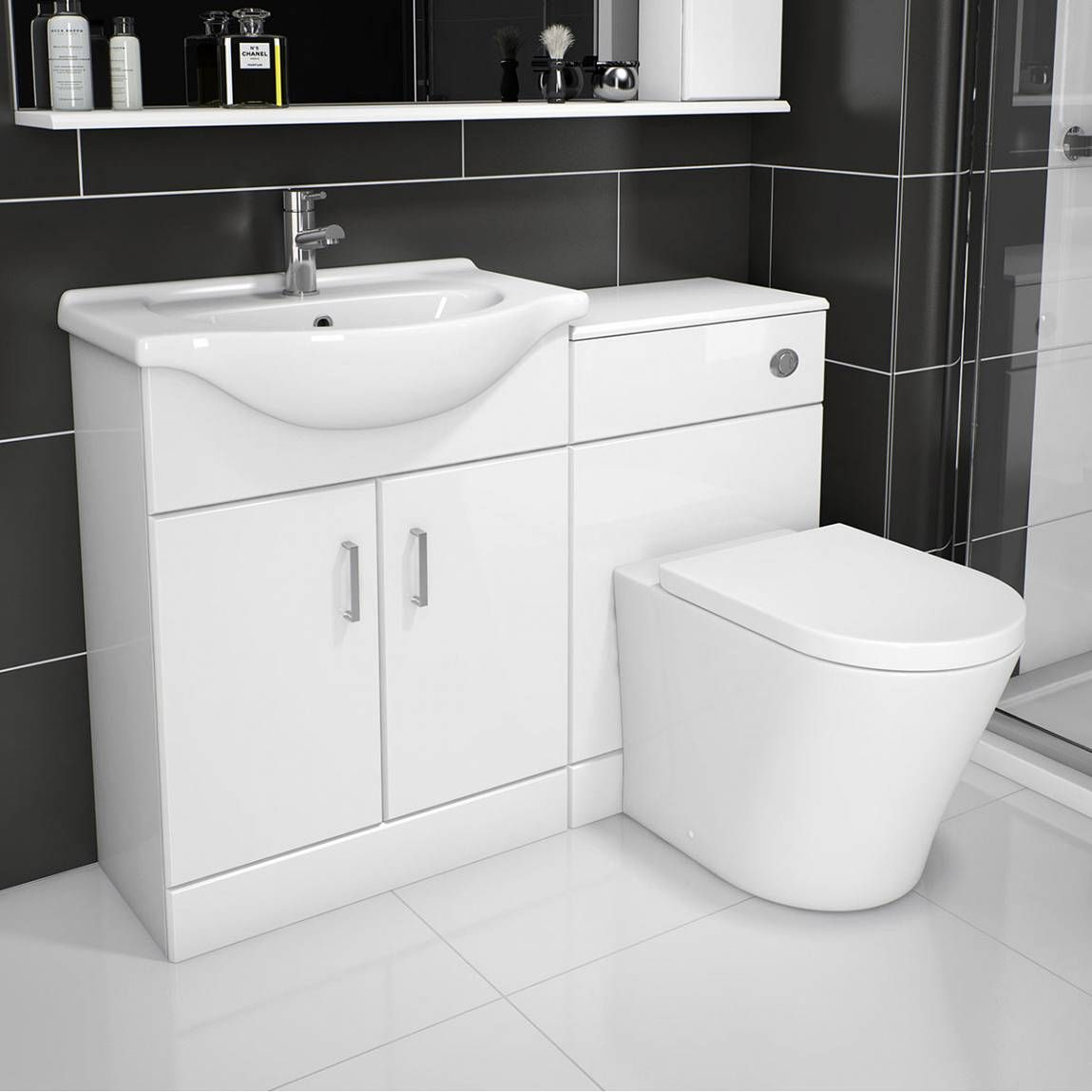 Sienna Arc White Gloss Combination Vanity Unit Small Victoria