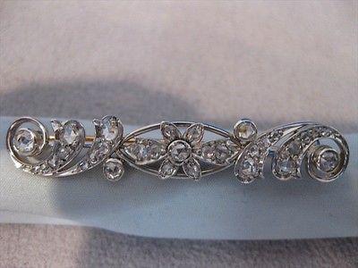 ANTIQUE 1.20CT OLD MINE DIAMOND 14K WHITE GOLD FLOWER FILIGREE PIN BROOCH #19163