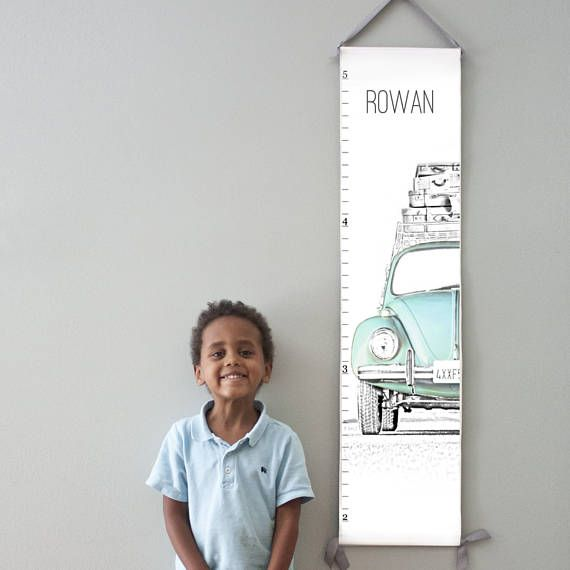 Personalized VW Bug canvas growth chart in blue.  Also available in pink and yellow.  50% of profits go directly to adoptions and orphan care ministries.