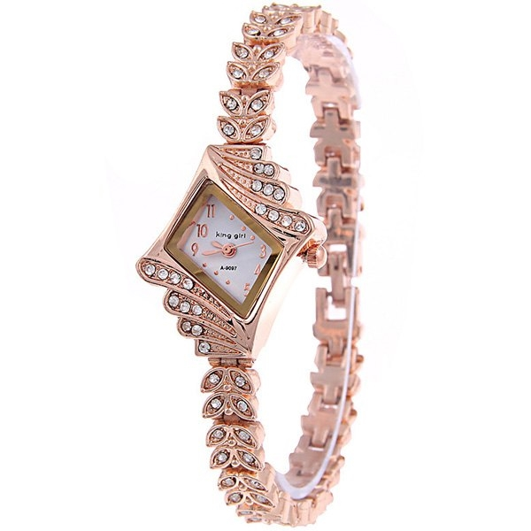 4.99$  Watch here - http://diidi.justgood.pw/go.php?t=201916301 - Vintage Rhinestoned Leaves Bracelet Watch 4.99$