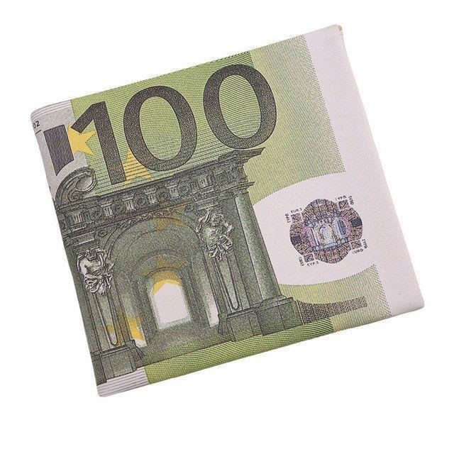 Personality 500 100 Euro Bill Wallet Men Pockets Card Letter Short