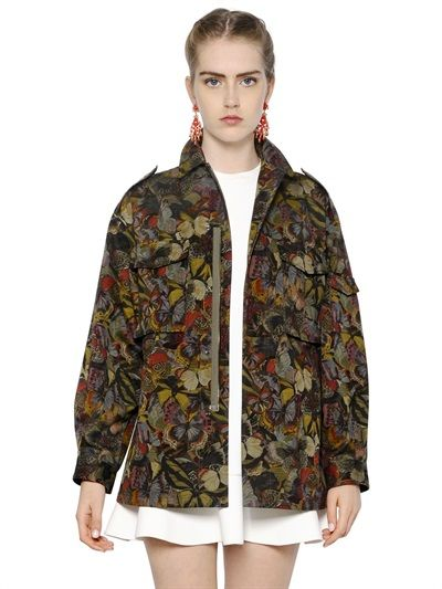 VALENTINO - BUTTERFLY PRINTED COTTON JACKET - LUISAVIAROMA - LUXURY SHOPPING WORLDWIDE SHIPPING - FLORENCE