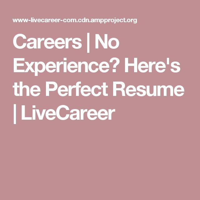 Careers No Experience? Here\u0027s the Perfect Resume LiveCareer