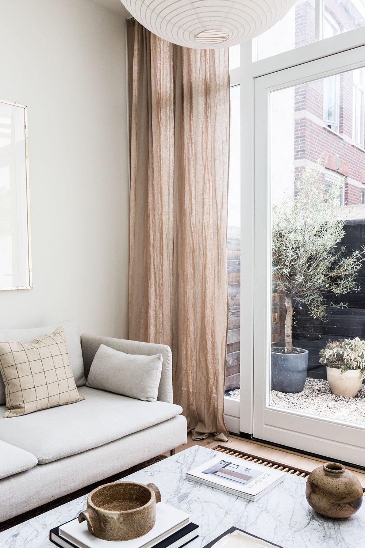 Pencil Pleat Linen Curtain Panel Minimalist Living Room Decor House Interior Home Decor