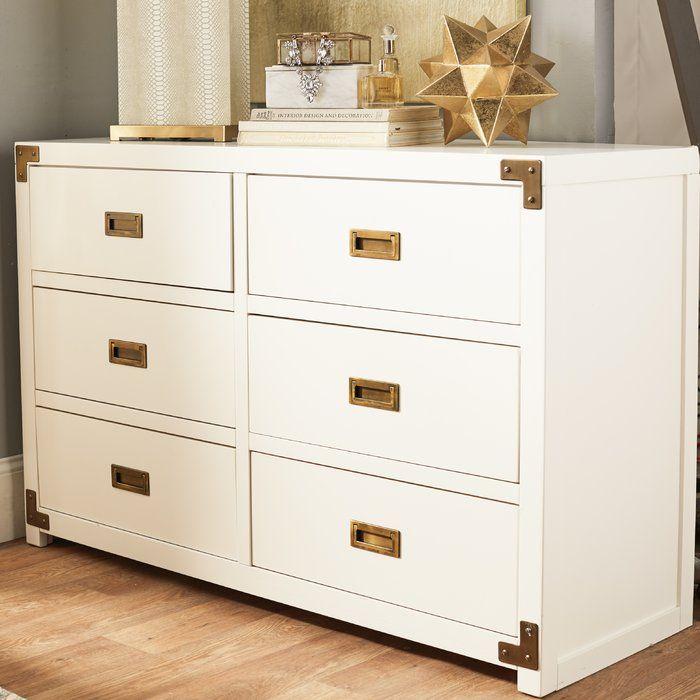 Agostino 6 Drawer Double Dresser Double Dresser Campaign Dresser Modern Dresser