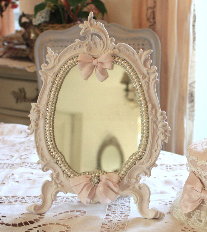 r serv ancien miroir psych en bronze shabby chic patine rose poudr perles strass. Black Bedroom Furniture Sets. Home Design Ideas