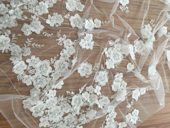 D beaded lace fabric with handmade applique embroidered flower