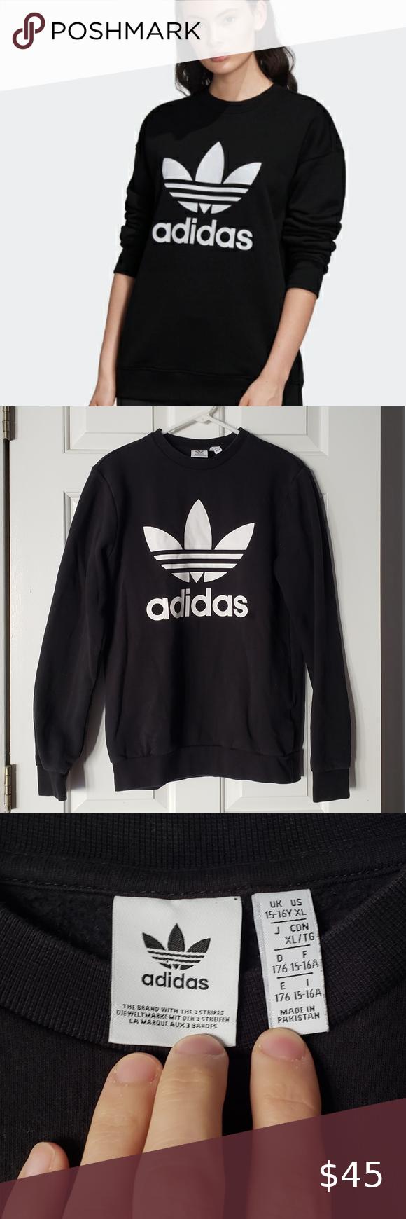 Adidas Trefoil Crew Sweatshirt Black And White Like New Adidas Trefoil Crew Sweatshirt Black And White Smoke Black Sweatshirts Crew Sweatshirts Adidas Trefoil [ 1740 x 580 Pixel ]