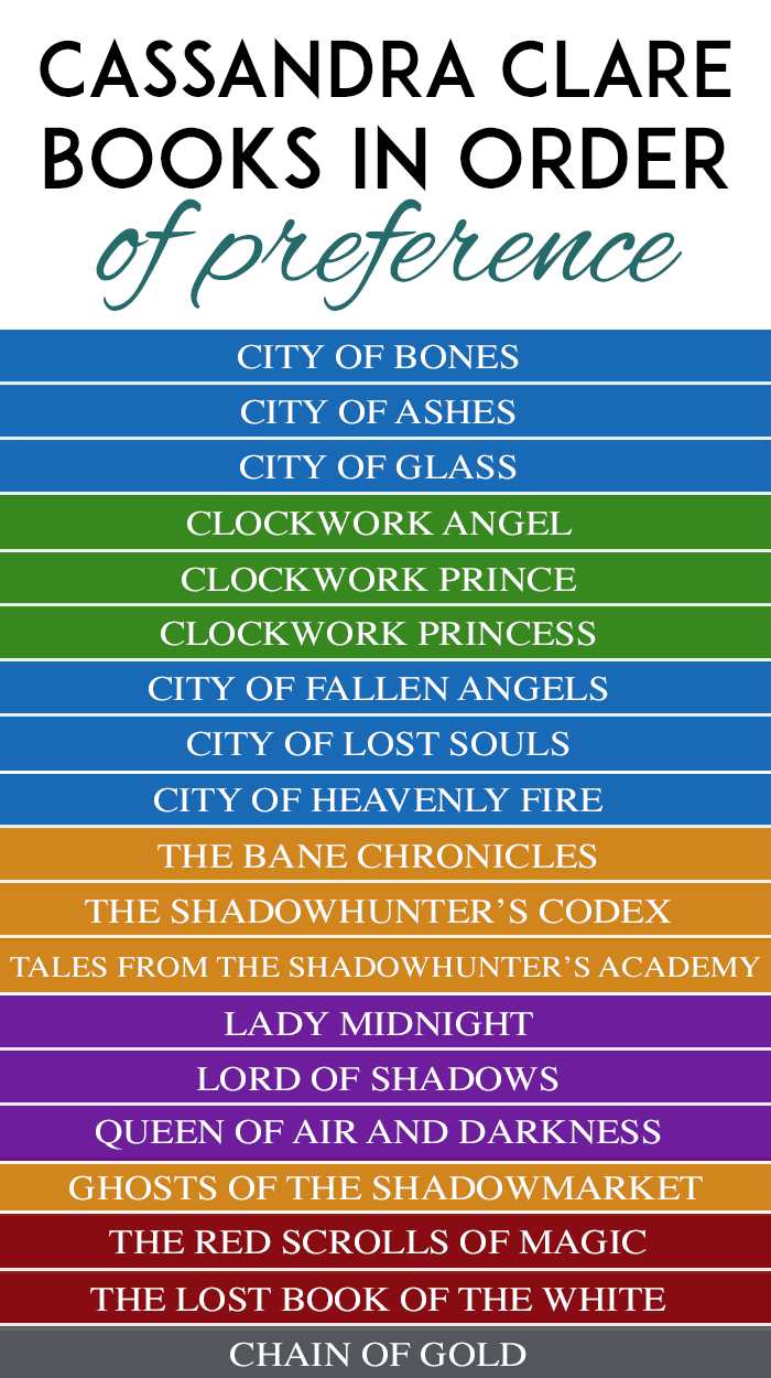 4 Ways to Read the Cassandra Clare Books in Order + Printable Checklist | T.L. Branson