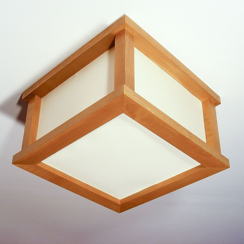 CUBE Ceiling Light With Two Bulb Lights Square Natural Wood Frame ...