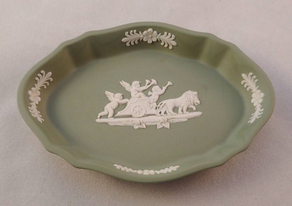Wedgwood Sage Green Jasperware Trinket Dish Pin Ring