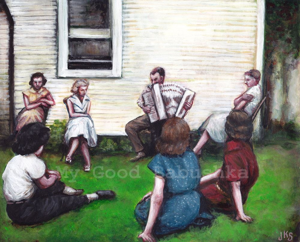 Concert On The Grass Original Painting Accordion Music Musicians 1950s 1940s Backyard Party White House Women Group Portrait