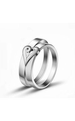 e0f5586376 Creative Idea Relief Engraved Heart Couple Promise Rings in 925 Sterling  Silver