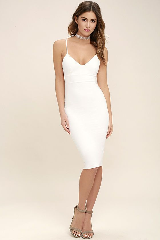 d28cacb6e4776 When you need a dress as fabulous as your travel destination be sure to  pack the Catalina Classic White Bodycon Midi Dress! Medium weight stretch  knit forms ...
