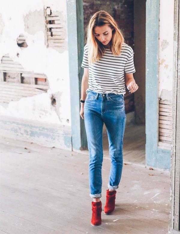 e10dc9e5c Quer voltar às aulas com muito estilo? Aposte no combo blusa de listras,  jeans e ankle boot que não tem erro!