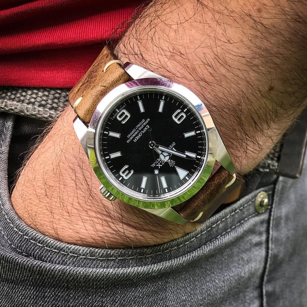 A Pocket Shot Of The Rolex Explorer On An Antique Brown Leather Strap A Nice Change From The Usual Oyster Bracelet Rolex Explorer Rolex Watches For Men Rolex