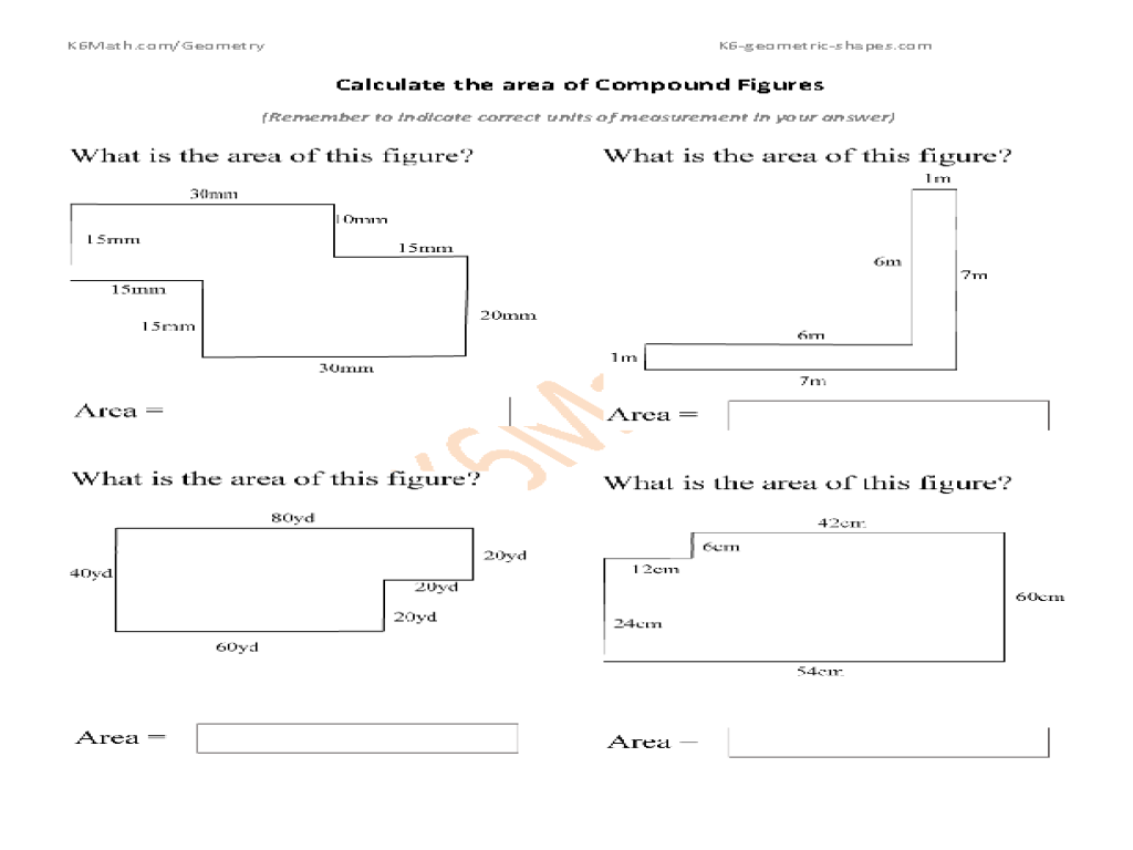 Calculate Area Of Compound Figures Worksheet
