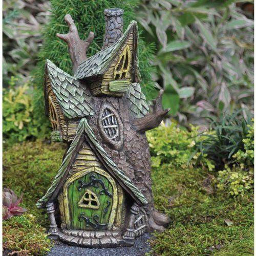 Tree House For Miniature Fairy Garden /Gnome Light Upby Fiddlehead  Georgetown   Fairy Gardens