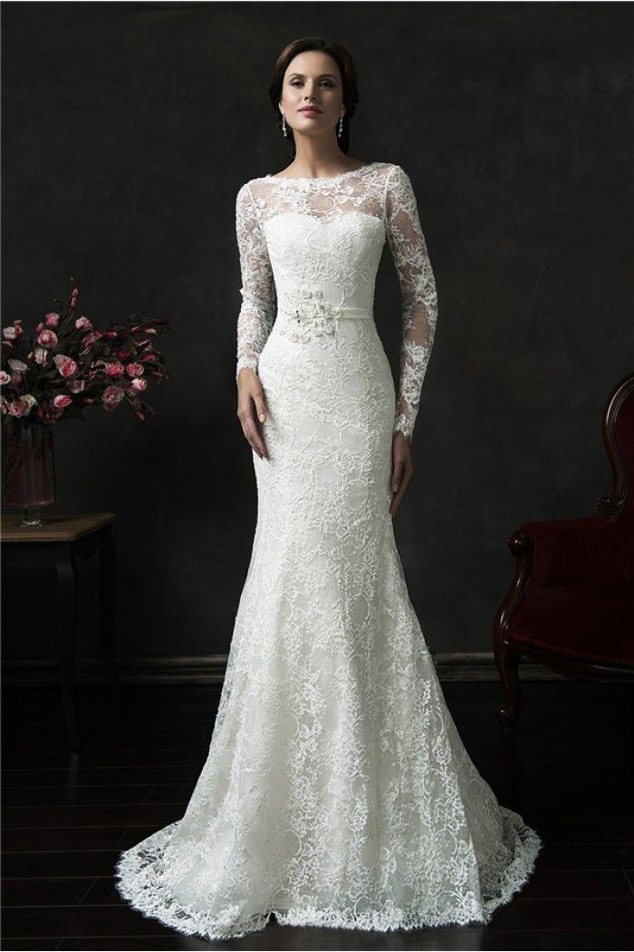 Mermaid deep v back long sleeve vintage lace wedding dress for Long sleeve lace wedding dresses