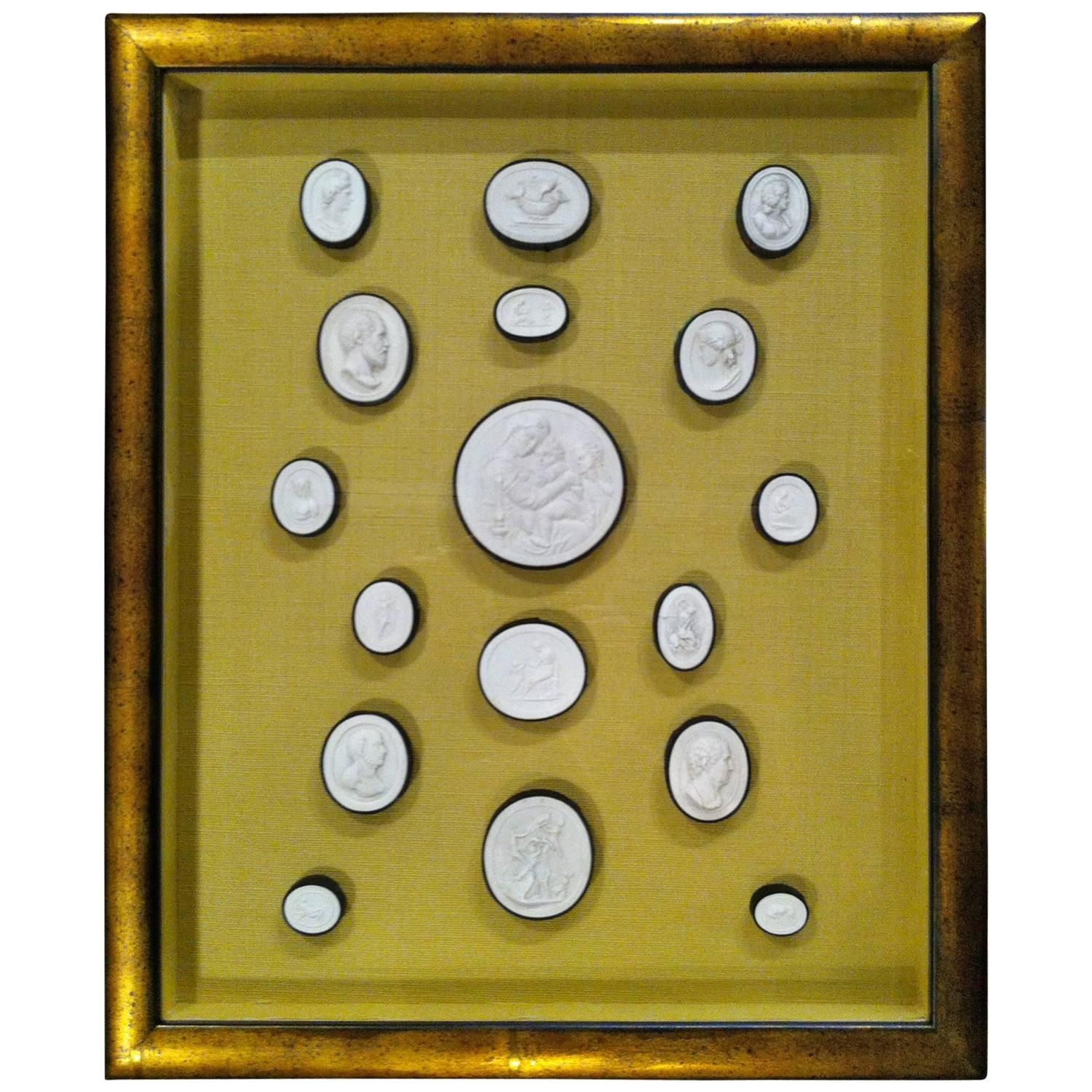 Italian Grand Tour Plaster Intaglio Collection in Gilt Wood Frame ...