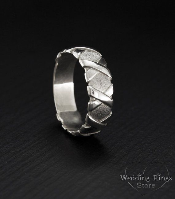 Silver Braided Wedding Band, Silver Unique Ring, Wedding