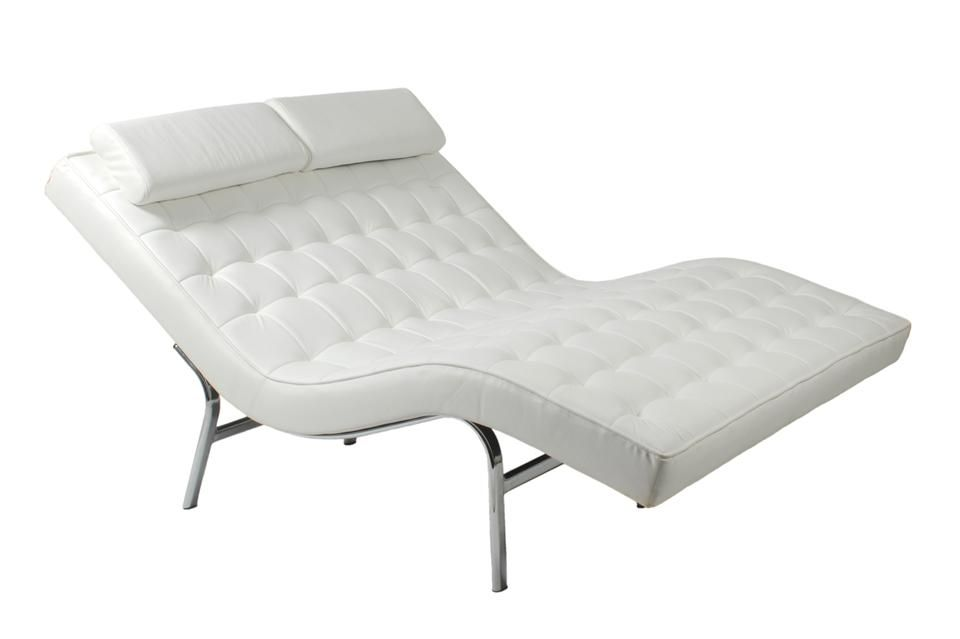 Euro Style Double Leather Chaise Lounge Modern Chaise Lounge