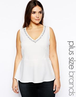 ccfb833147 Image 1 of New Look Inspire Embellished Peplum Top