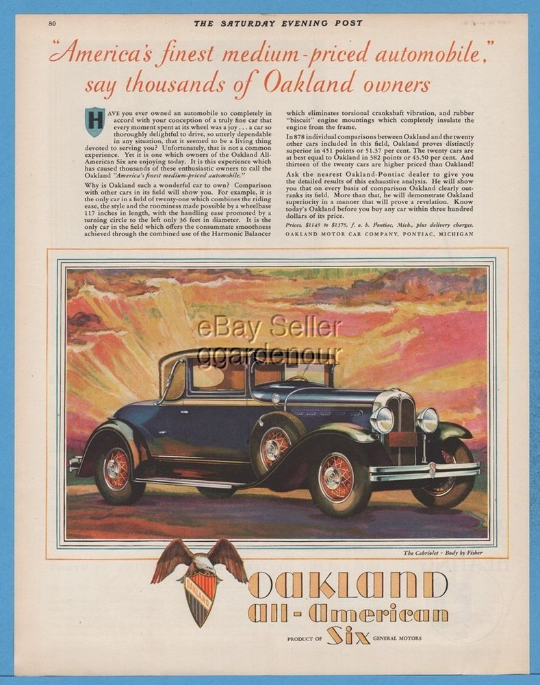 1929 Oakland All American Six Cabriolet Coupe Pontiac MI General ...