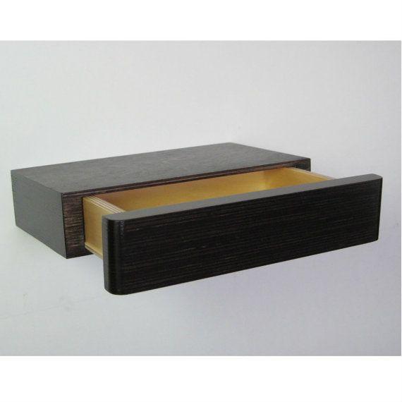 Zwevende Plank Met Lades.Pacco Drijvend Lade In Natuurlijke Berk Ply Wanddecoratie