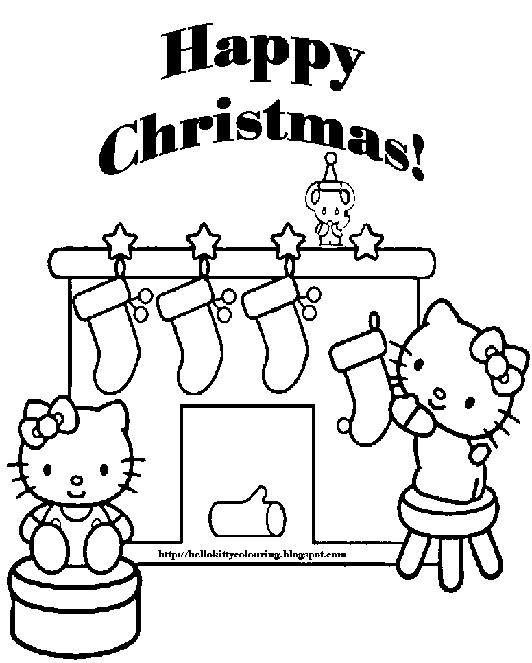 xmas coloring pages kerstmis pinterest xmas hello kitty and