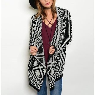 74ae30ed770 Shop for JED Women s Black and White Acrylic Tribal-print Sweater Cardigan. Free  Shipping